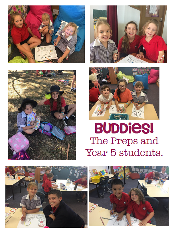 The Preps join their Year 5 buddies for fun as they settle into school.