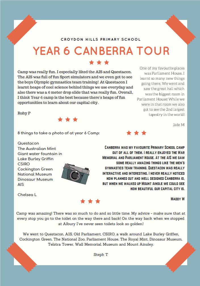 Y6 Canberra Tour 2018
