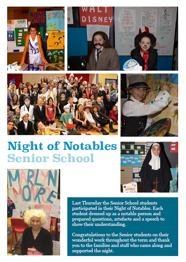 Senior students learnt about remarkable world figures by participating in the Night of the Notables