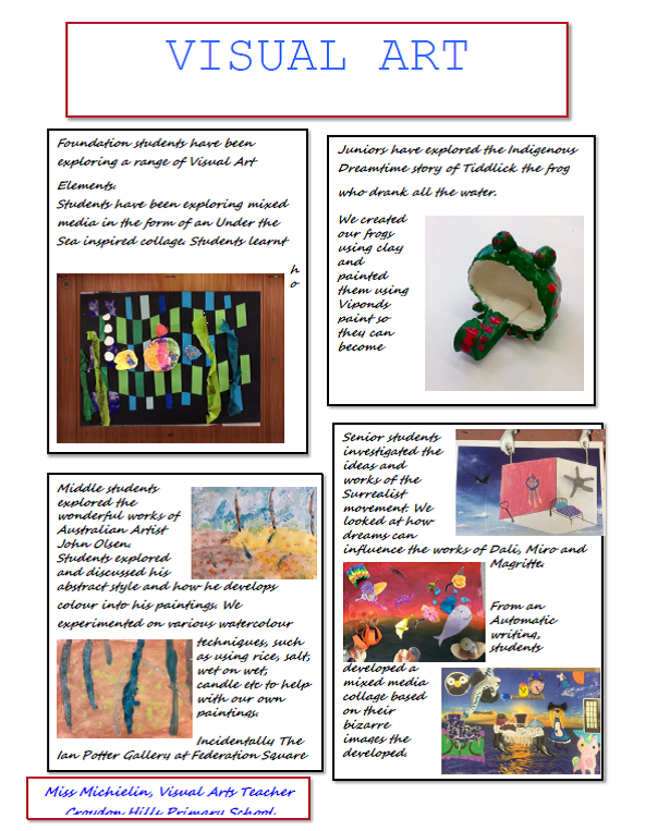 Each learning level enjoys challenging and creative visual arts projects