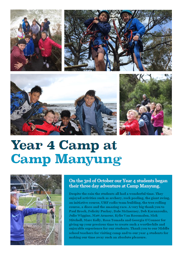 Year 4 students spent three days at Camp Manyung at Mt Eliza and had a wonderful adventure!