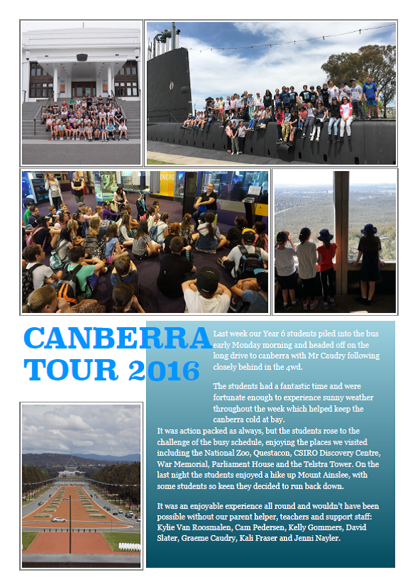 Year 6 students travelled to Canberra last week